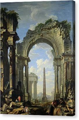 Landscape With Ruins Canvas Print by Giovanni Niccolo Servandoni