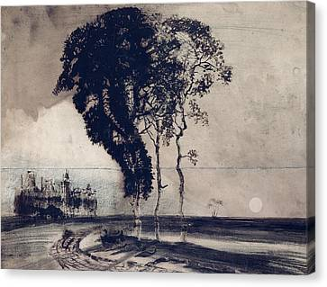 Landscape With Three Trees Canvas Print by Victor Hugo