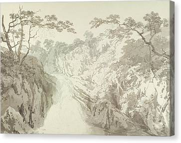 Landscape With Waterfall Canvas Print by Joseph Mallord William Turner