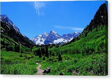 Hiking Maroon Bells Canvas Print by Dan Sproul
