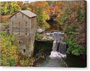Lanterman's Mill And Bridge Canvas Print by Marcia Colelli