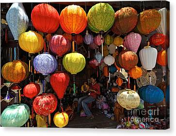 Lanterns Hanging In Shop In Hoi An Canvas Print by Sami Sarkis