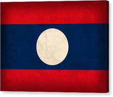 Laos Flag Vintage Distressed Finish Canvas Print by Design Turnpike