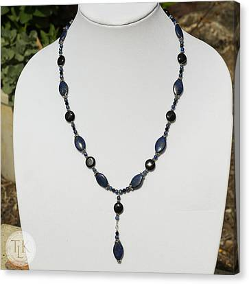 Lapis Lazuli And Black Onyx Lariat Necklace 3675 Canvas Print by Teresa Mucha