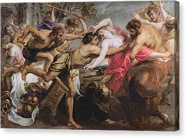Lapiths And Centaurs Oil On Canvas Canvas Print by Peter Paul Rubens