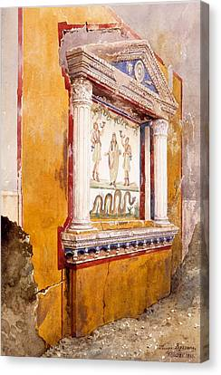 Lararium Of Family Altar, Seen In Situ Canvas Print by Luigi Bazzani