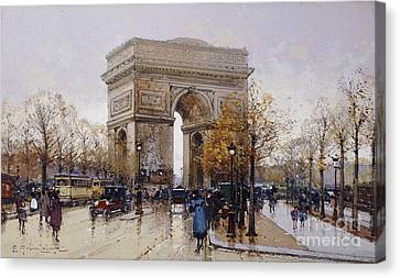 L'arc De Triomphe Paris Canvas Print by Eugene Galien-Laloue