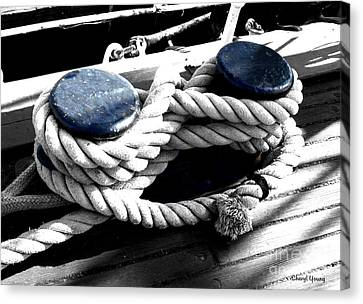 Large Dock Cleat Canvas Print by Cheryl Young