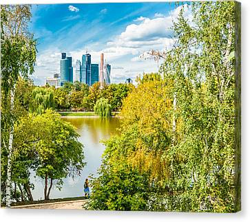 Large Novodevichy Pond Of Moscow - 4 Canvas Print by Alexander Senin