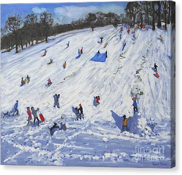 Large Snowman  Chatsworth Canvas Print by Andrew Macara
