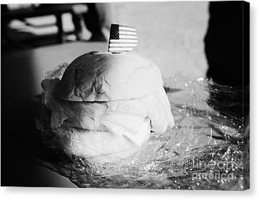 Large Turkey Salad Sandwich Wrapped In Cling Film Usa Canvas Print by Joe Fox
