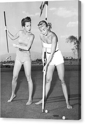 Las Vegas Showgirl Golf Canvas Print by Underwood Archives