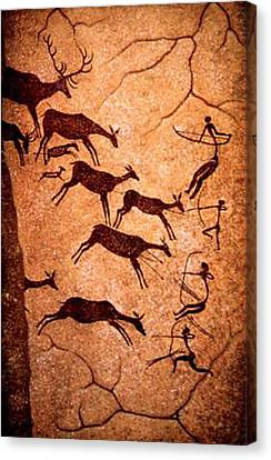 Lascaux Stag Hunting Canvas Print by Asok Mukhopadhyay