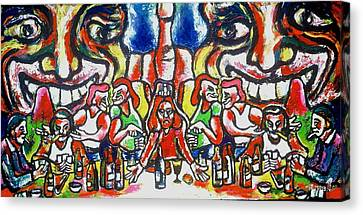 Last Supper Party The Present Vulgarity Canvas Print by Kenneth Agnello