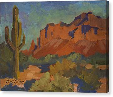 Late Afternoon Light At Superstition Mountain Canvas Print by Diane McClary