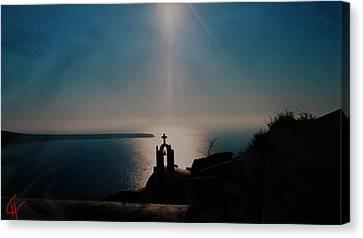 Late Evening Meditation On Santorini Island Greece Canvas Print by Colette V Hera  Guggenheim