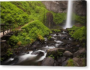 Latourell Falls And Rapids Canvas Print by Andrew Soundarajan