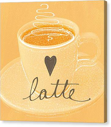 Latte Love In Orange And White Canvas Print by Linda Woods