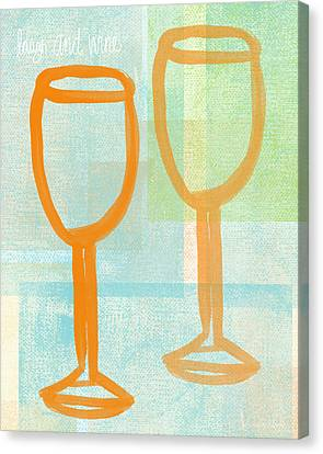 Laugh And Wine Canvas Print by Linda Woods