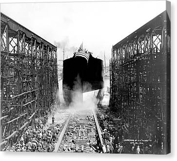 Launching Of Ss Acme Canvas Print by Underwood Archives