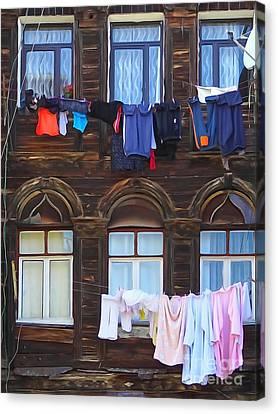 Laundry Istanbul Canvas Print by Lutz Baar