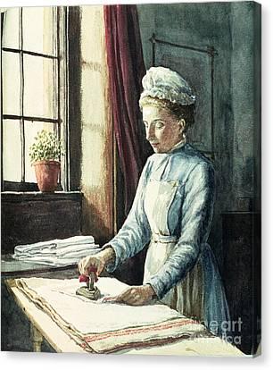 Laundry Maid Canvas Print by English School