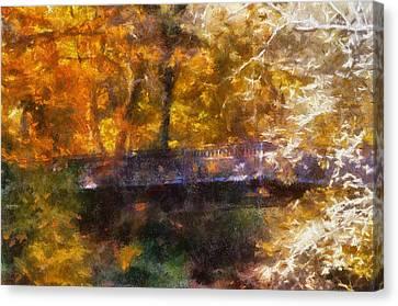 Laura Bradley Park Foot Bridge 02 Canvas Print by Thomas Woolworth