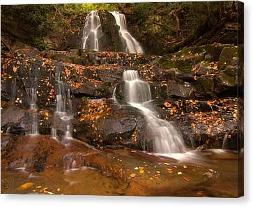 Laurel Falls In Great Smoky Mountains National Park In Autumn Canvas Print by Dan Sproul
