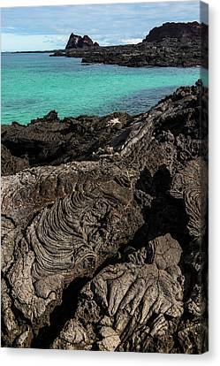 Lava Formations Sullivan Bay Santiago Canvas Print by Pete Oxford