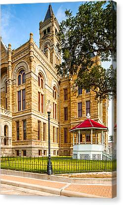 Lavaca County Courthouse - Hallettsville Texas Canvas Print by Silvio Ligutti