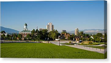 Lawn With Salt Lake City Council Hall Canvas Print by Panoramic Images