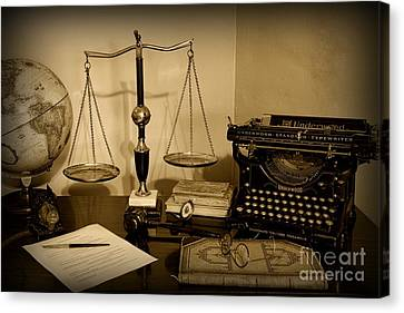Lawyer - The Lawyer's Desk In Black And White Canvas Print by Paul Ward