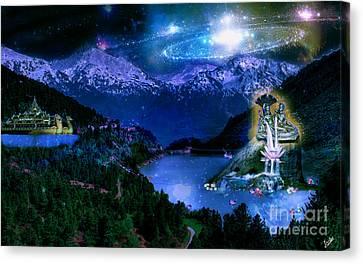 Laxmi Narayan On Akshaya Tritiya In Dream World Canvas Print by Artist Nandika  Dutt