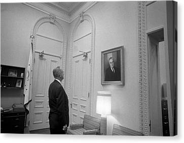 Lbj Looking At Fdr Canvas Print by War Is Hell Store
