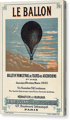 Le Ballon Advertising For French Aeronautical Journal Canvas Print by Georgia Fowler
