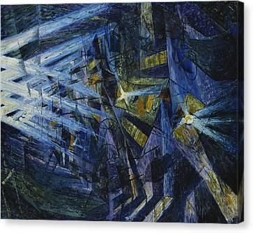 Le Forze Di Una Strada Canvas Print by Umberto Boccioni
