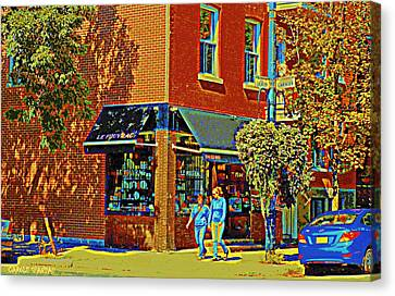 Le Fouvrac Foods Chocolates And Coffee Shop Corner Garnier And Laurier Montreal Street Scene Canvas Print by Carole Spandau