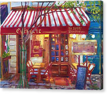 Le Petite Bistro Canvas Print by David Lloyd Glover