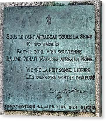 Le Pont Mirabeau Canvas Print by Olivier Le Queinec
