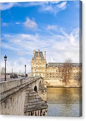 Le Pont Royal And The Louvre - Paris On The River Canvas Print by Mark E Tisdale