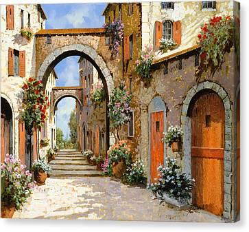 Le Porte Rosse Sulla Strada Canvas Print by Guido Borelli
