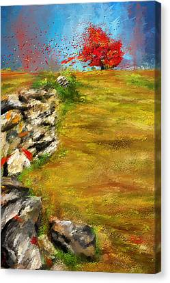 Leading Red - Autumn Impressionist Canvas Print by Lourry Legarde