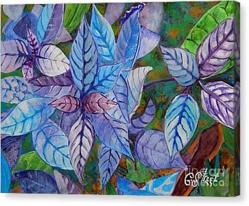 Leafy Blues Canvas Print by Caroline Street