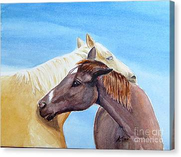 Lean On Me Canvas Print by Andrea Timm