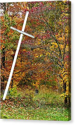 Leaning Cross And Gravestone Canvas Print by Thomas R Fletcher