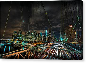 Leaving New York City Via The Brooklyn Bridge Canvas Print by David Morefield