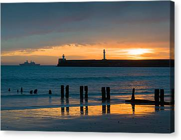 Leaving Port Canvas Print by Dave Bowman