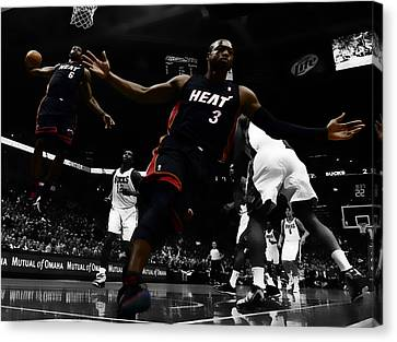 Lebron And D Wade Showtime Canvas Print by Brian Reaves
