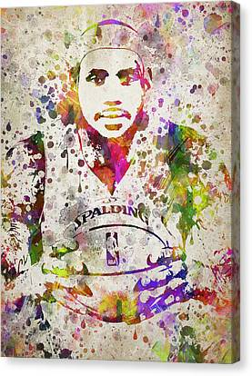 Lebron James In Color Canvas Print by Aged Pixel