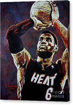 Lebron James Mvp Canvas Print by Maria Arango